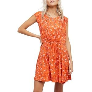 Free People NWT Orange Backless Cap-Sleeve Dress